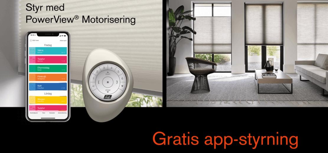 Illustration av motoriserade gardiner fran luxaflex som styrs med hjälp av app eller fjarrkontroll